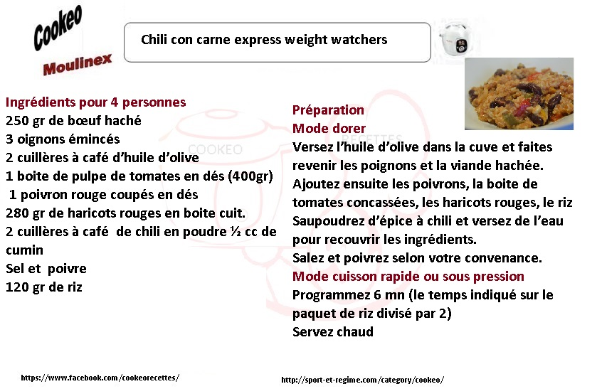 Chili con carne weight watchers au cookeo
