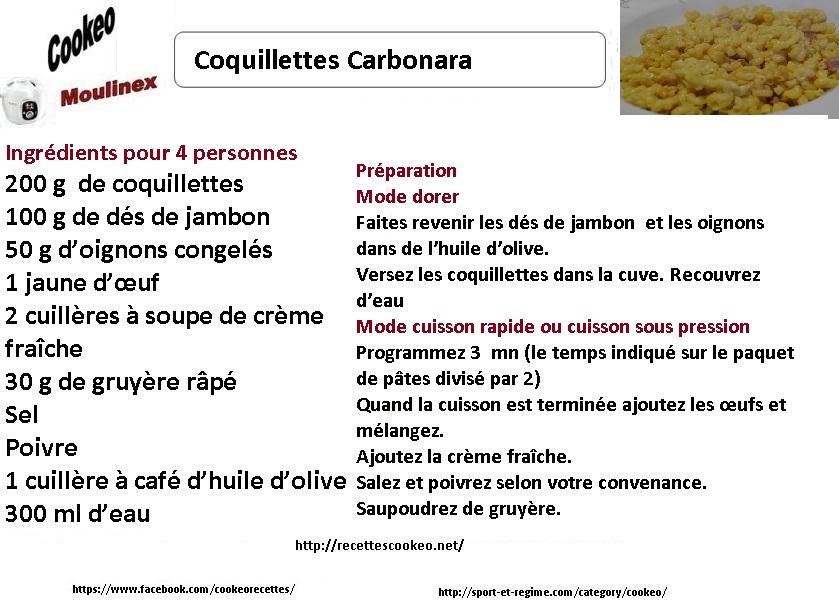 COQ CARBONARA COOKEO FICHE