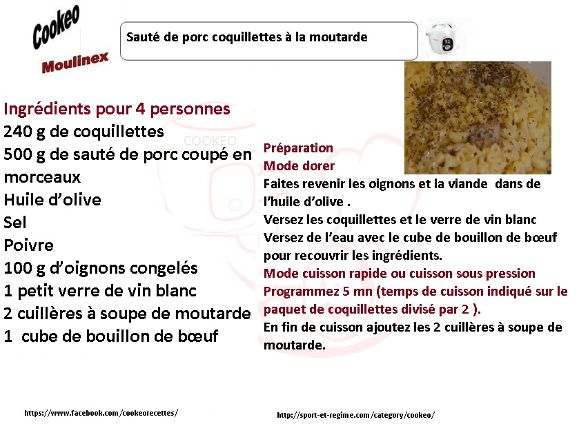 recettes cookeo coquillettes