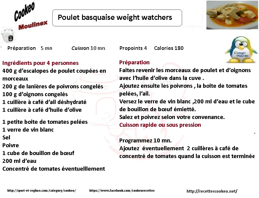 Fiche cookeo poulet basquaise weight watchers