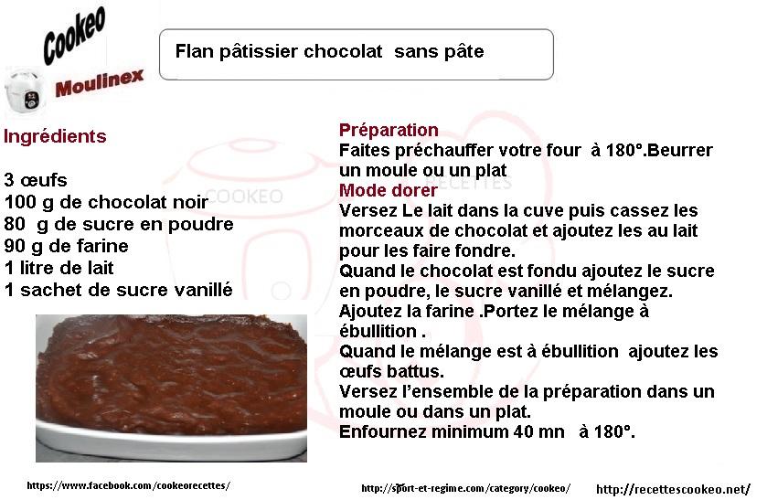 Fiche cookeo Flan au chocolat