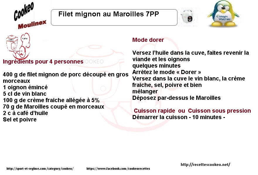 Fiche cookeo filet mignon Maroilles weight watchers