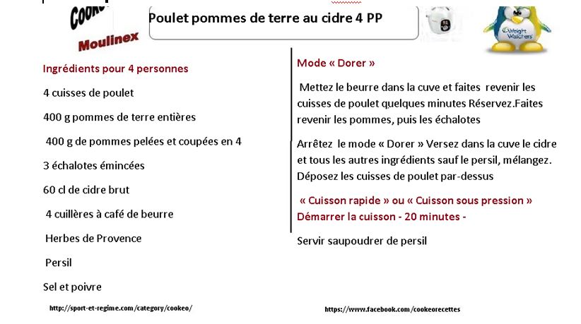 Fiche cookeo poulet pommes de terre au cidre weight watchers 4 PP 9 SP