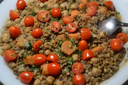 Salade lentilles pois chiches cookeo