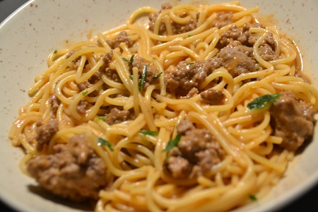 Spaghettis steaks hachés paprika cookeo