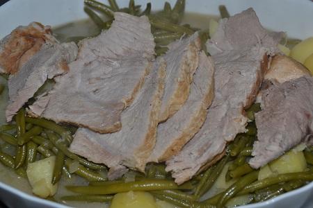 Rôti porc haricots pommes de terre cookeo