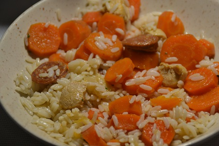 Riz carottes poulet chorizo cookeo